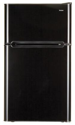 Haier HC32TW10SB 3.2 Cu. Ft. Compact Refrigerator with Full-Width Glass Shelves, a True Separate Freezer, Dispense-a-Can Storage, and Interior Lighting, in Black