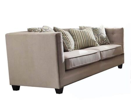 Juliana Collection 53585 84 inch  Sofa with 4 Pillows Included  Track Arms  Nail Head Trim  Tapered Legs  Solid Wood Frame  Down Feather Seating and Fabric
