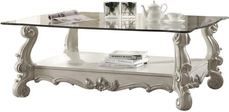 Versailles Collection 82103 56 inch  Rectangular Coffee Table with 10mm Tempered Clear Glass Top  Beveled Edges  Scroll Legs and Bottom Shelf in Bone White