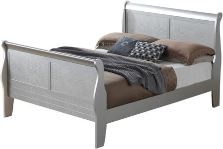 Randa Collection G6500A-KB King Size Bed with Crocodile Texture and Wood Veneers in Silver