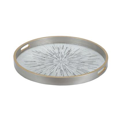 Carraway Collection 7159-061 24 inch  Tray with Built-In Handles  Circular Shape  Mosaic Inlay and Glass Construction in Galashields Gold and White