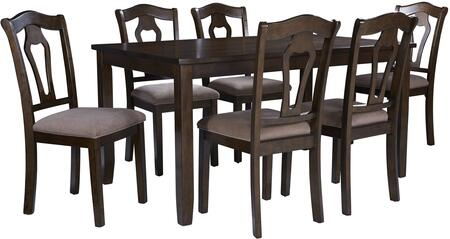 Grandville Collection 16142 7 PC Dining Table Set with 60 inch  Rectangular Table  6 Side Chairs  Fabric Seat Cover  Foam Filled Cushion and Selected Hardwoods