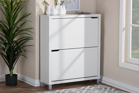FP-2OUS-WHITE Baxton Studio Simms Modern Shoe Cabinet  In