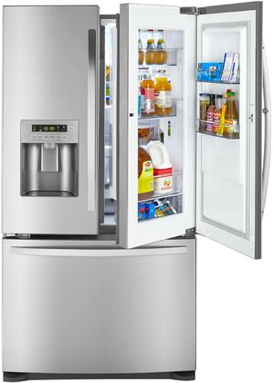 73063 36 French Door Refrigerator with 26.6 cu. ft. Total Capacity  Grab-N-Go Door  in Door Ice Maker and Spill Proof Glass Shelves in Stainless