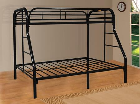 Sade Collection 9701-BK Twin Over Full Bunk Bed with 2