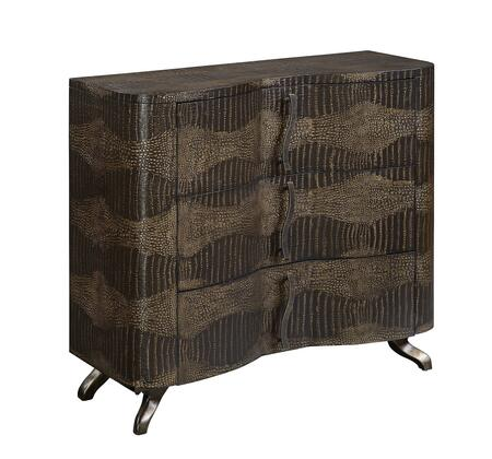 70816 42 inch  Chest with Three Drawers  Crouching Legs and Curving Oversized Hardware in Alligator Emboss