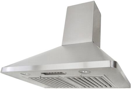 RAX9436SQB-DC46-1 36 inch  Wall Mount Range Hood with 680 CFM Internal Blower  3 Speeds  Mechanical Push Button Control  LED lights  Professional baffle filters and