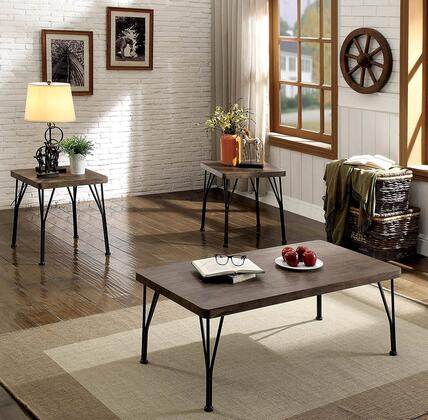 Majorca Collection CM4279BR-3PK 3-Piece Living Room Table Set with Coffee Table and 2 End Tables in Brown and Dark
