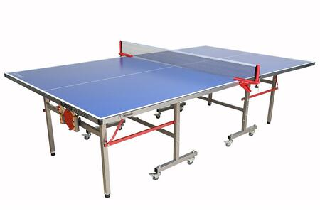 Master Series 21-365 108 inch  Foldable Outdoor Ping Pong Table with Stainless Steel 35mm Legs and Frame  Paddle and Ball Storage Included and 8 Locking Wheels in