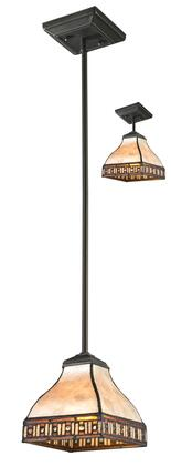 Crimson Z6-52MP 6 inch  1 Llight Mini Pendant Craftsman  Tiffanyhave Steel Frame with Java Bronze finish in White Mica and Honey Amber