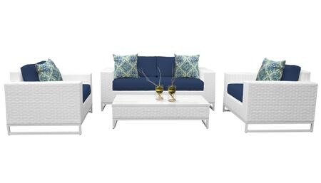 MIAMI-05f-NAVY Miami 5 Piece Outdoor Wicker Patio Furniture Set 05f with 2 Covers: Sail White and