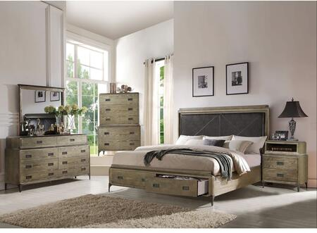 Athouman Collection 23917EKSETPD 5 PC Bedroom Set with King Size Bed + Dresser + Mirror + Chest + USB Powder Dock Nightstand in Weathered Oak