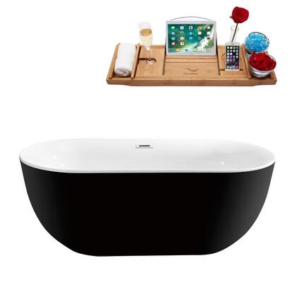 N80159FSBLFM 59 inch  Soaking Freestanding Tub with Internal Drain  Chrome Color Drain Assembly  132 Gallons Water Capacity  and Acrylic/Fiberglass Construction  in