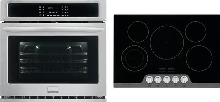 2-Piece Kitchen Package with FGEW3065PF 30 inch  Electric Single Wall Oven in Stainless Steel and FGEC3067MB 30 inch  Electric Smoothtop Style Cooktop in