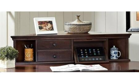 Belcourt ER-BLC-OHT41-D 41.54 inch  Corner Hutch with 2 Drawers  Angled Display Shelf to Hold Tablets  2 USB Ports and AC Outlets in Cherry