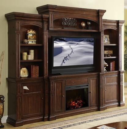 ZG-B1960-FBBB Berkshire Fireplace Entertainment Center with Fire Console  Two Bookcases  Back Panel and Bridge  in Old World