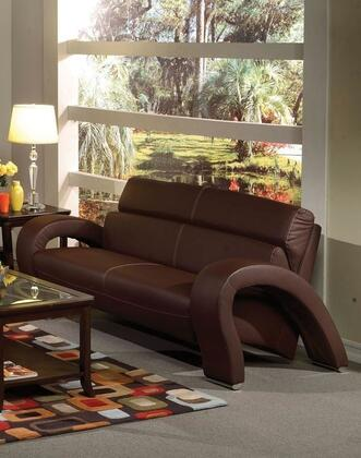 Irisa Collection 51735 87 inch  Sofa with Chrome Legs  Baseball Stitching  Tight Cushions and Bycast PU Leather Upholstery in Chocolate