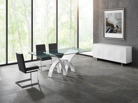 Manhattan Collection CB060MFSET 6 PC Dining Room Set with Clear Glass Top Dining Table  White Buffet and 4 Brown Eco-Leather Upholstered Dining