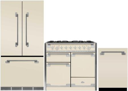 3-Piece Ivory Kitchen Package with MELFDR23IVY 36 inch  French Door Refrigerator  AEL48DFIVY 48 inch  Freestanding Dual-Fuel Range  and AELTTDWIVY 24 inch  Fully Integrated