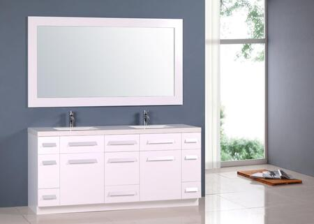J72-DS-W Moscony 72 inch  Double Sink Vanity Set in