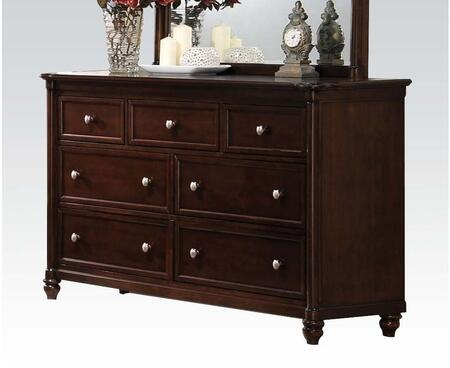 Amaryllis Collection 22385 64 inch  Dresser with 7 Drawers  Metal Hardware  Center Metal Drawer Glides  Turned Bun Feet and Wood Frame in Cherry