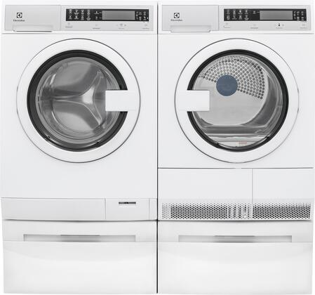 """White Compact Laundry Pair with EIFLS20QSW 24"""" Front Load Washer EIED200QSW 24"""" Electric Condense Dryer and 2 EPWD200QSW Laundry"""