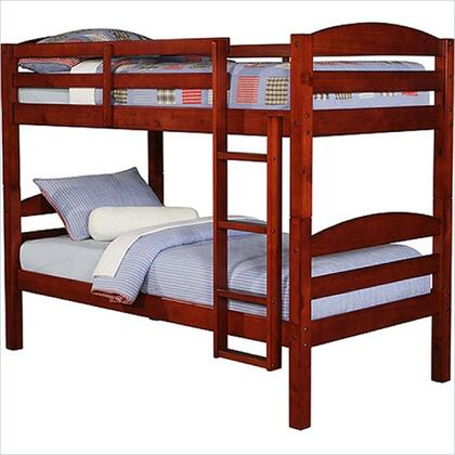 BWSTOTCH Solid Wood Twin over Twin Bunk Bed with Full Length Guardrails and Integrated Ladder in