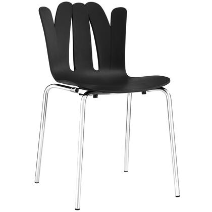 Flare Collection EEI-1496-BLK Dining Side Chair with Stainless Steel Base  Modern Style  Non-Marking Feet  Molded Plastic Seat and Back in Black