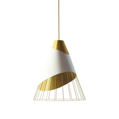 FAR-1619-692 1 Light Gold Pendant With Gold Fabric Cap And White On Gold Hardback