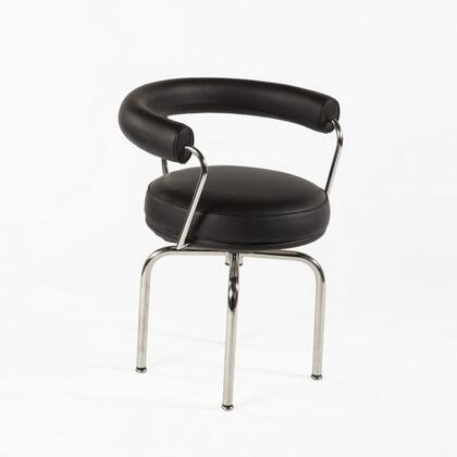Vallentuna FEC7705BLK Chair with Piped Stitching  Stainless Steel Frame and Leather Upholstery in
