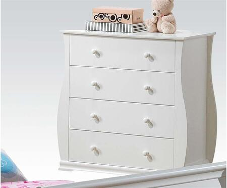 Nebo Collection 30107 34 inch  Chest with 4 Drawers  Round Hardware and Side Metal Glide Drawers in White