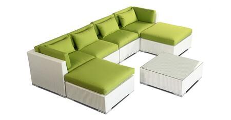NAPALI7-WHT-LIMEGRE Modern Outdoor Furniture Sofa Patio Modify-It Aloha Napali 7-Pc Set  White Wicker/Lime Green Cushions By Kardiel