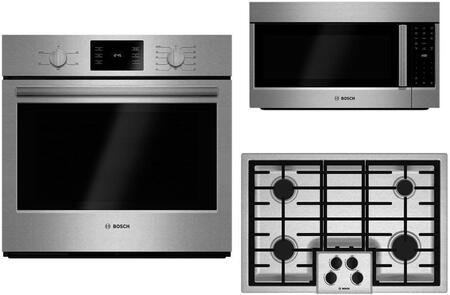 3-Piece Stainless Steel Kitchen Package with HBL5351UC 30 inch  Electric Single Wall Oven  NGM5055UC  30 inch  Gas Cooktop and HMV8053U 30 inch  Over-the-Range