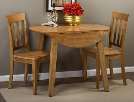 Simplicity Collection 352283SET 3 PC Dining Room Set with Round Extendable Dining Table + 2 Slat Back Chairs in Honey