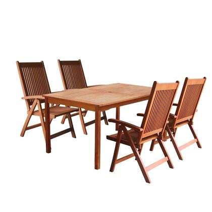 V98SET20 Outdoor Wood Balthazar Rectangular Table and 4 V145 Outdoor Wood Reclining
