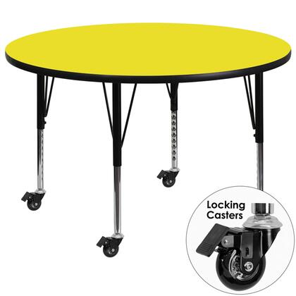 XU-A48-RND-YEL-H-P-CAS-GG Mobile 48'' Round Activity Table with 1.25'' Thick High Pressure Yellow Laminate Top and Height Adjustable Pre-School
