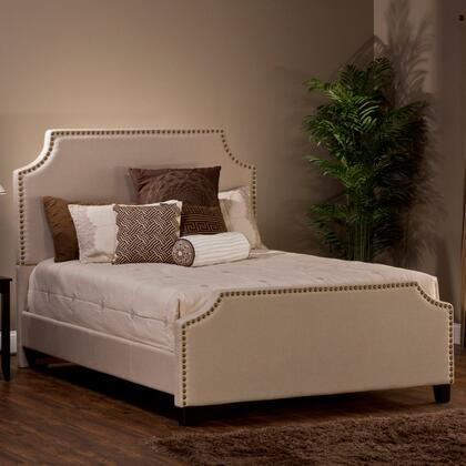 Dekland 1121BQR Queen Sized Bed with Headboard  Footboard and Rails  Gold Nail Head Trim and Linen Upholstery in Ivory