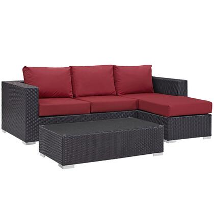 Convene Collection EEI-2178-EXP-RED-SET 3-Piece Outdoor Patio Sofa Set with Coffee Table  Ottoman and Sofa in