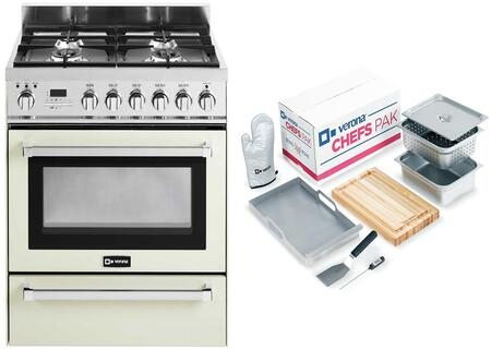 2-Piece Antique White Kitchen Package with VEFSGE304PAW 30 inch  Freestanding Dual Fuel Range and Chefs