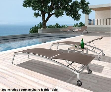 Vgmgtulum Renava Tulum 80 Outdoor Lounge Chair Set With 2 Lounge Chaises  Side Glass Top Table  Stainless Steel Frame And Weatherproof Mesh Material In Brown