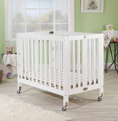 Roxy 1166W 40 inch  Three Level Portable Crib with New Zealand Pine Construction  Mattress Included  Super Smooth Rubber Wheels and CPSA Approved in