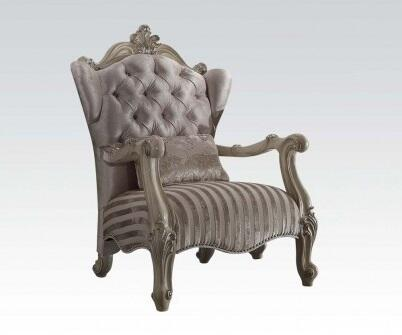 52087 Versailles Living Room Chair with 1 Pillow  Button Tufted Back  Nail Head Trim  Loose Seat Cushion and Ivory Velvet Fabric Upholstery in Bone