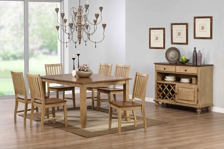 Brook Collection DLU-BR4272-C60-SRPW8PC 8-Piece Dining Room Set with Extension Dining Table  6x Side Chairs and Server in Distressed Two Tone Light Creamy