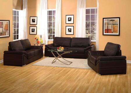 Ember Collection 51695SLCT 6 PC Living Room Set with Sofa + Loveseat + Chair + 3 PC Table Set in Espresso