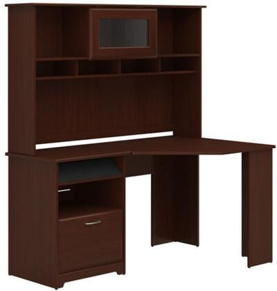 Cabot WC31415-03-31 Corner Desk and Hutch with One Charging Station  Two Drawers and One Filing Cabinet in Harvest