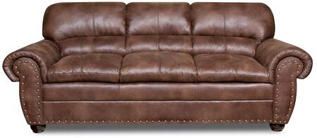 Padre 7510-03 93 Sofa With Split Back Cushion  Nail Head Accents  Rolled Arms And Bun Feet In