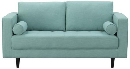 Arthur 982HL5 2-Seat Loveseat with Piped Stitching  Button Tufting and Tweed Fabric in Mint