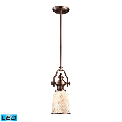 66442-1-LED Chadwick 1-Light Pendant in Antique Copper and Cappa Shell -
