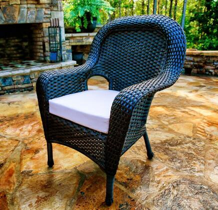LEX-13T Sea Pines Dining Chair With All Weather Wicker  100% Spun Polyester Cushion  Mildew and Fade Resistant Fabric & In
