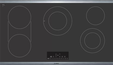 Bosch NET8668SUC 36 Electric Cooktop with 5 Elements 17 PreciseSelect Temperature Settings Automatic Shut Off Timer Bridge Element SpeedBoost Heat Indicator and Stainless Steel Frame
